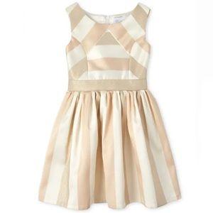 NWT Childrens Place Metallic Stripe Jacquard Dress